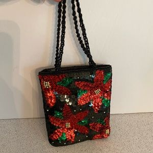 Christmas Beads & sequins evening bag mini purse